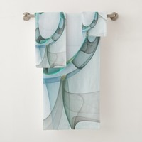 Fractal Art Blue Turquoise Gray Abstract Elegance Bath Towel Set
