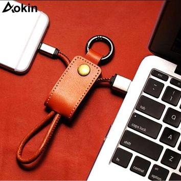 Aokin Leather Key Chain USB Cable For iPhone For Micro USB Type C Key Ring Cables For Samsung For Huawei Fast Charging Data Line