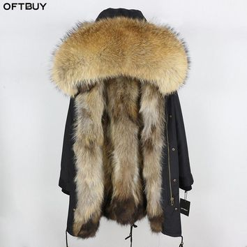 OFTBUY 2018 Winter Jacket Women Real Fur Coat Long Parka Real Raccoon Fur Collar Hood Waterproof Outerwear Thick Warm Streetwear