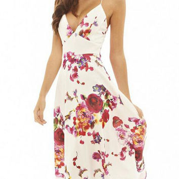 Beige V-neck Flowers Printed Sleeveless Swing Summer Midi Straps Dress