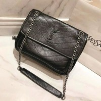 YSL Classic Fashionable Women Shopping Leather Metal Chain Crossbody Satchel Shoulder Bag Black