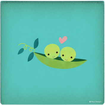 Two Peas in a Pod Art Print by Rosy Designs
