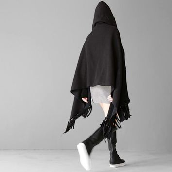 Shi Hooded Fringe Shawl - Black