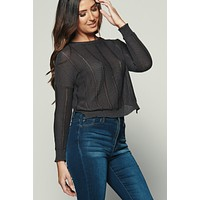 Central Park Ribbed Knit Sweater (Black)