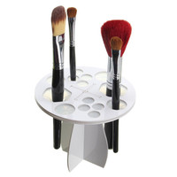Plastic Cosmetic Dryer Makeup Beauty Brushes Storage Organization Holder Stand  - White