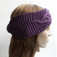 FREE SHIPPING,Hand Knitted Women Headband in Deep Lavender,Handmade Headband,Warm Head Wrap,Ear Warmer,Winter Hair Band,Knit Women Accessory