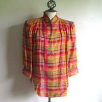 Vintage 1980s Plaid Blouse Orange Pink 40s Style Linen Blend Blouse 12 Lrg