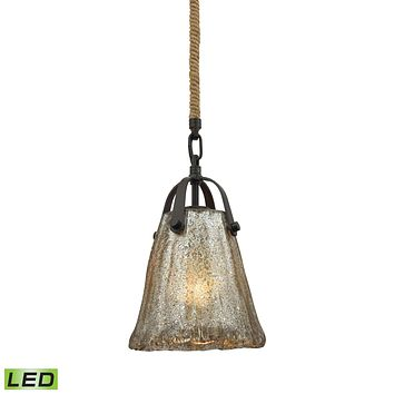 Hand Formed Glass 1-Light Mini Pendant in Oiled Bronze with Mercury Glass - Includes LED Bulb