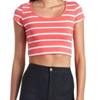 Striped Cotton Short Sleeve Crop Top by Charlotte Russe