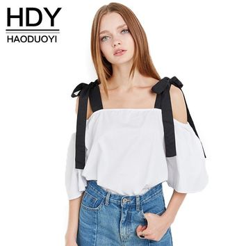 HDY Haoduoyi 2017 Fashion Bow Shirt Women Casual Solid White Off-Shoulder Lady Tops Summer Slash Neck Half Sleeve Cute Blouse