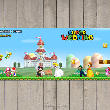 Wedding invitation Super Mario - Mario Peach - Save the Date - Digital file