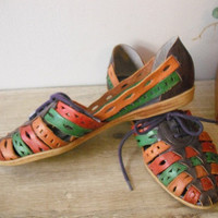 vintage Huarache Sandals ... Colorful Woven Leather 6 and half