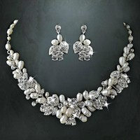 Silver Freshwater Pearl & Rhinestone Floral Jewelry Set from LucyAlia's Bridal Closet