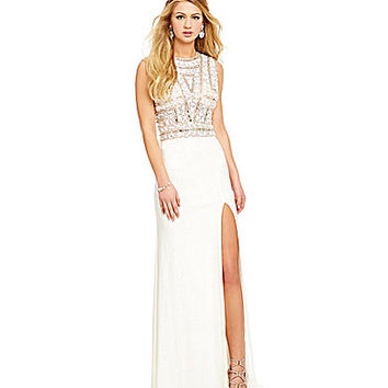 Savannah Nights Stone-Encrusted Shirt Bodice Gown | Dillards.com