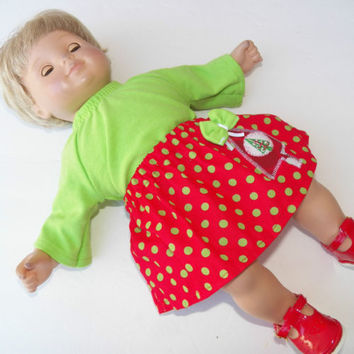 18 inch doll clothes,15 inch bitty baby, cabbage patch Christmas Tree Skirt t 2p