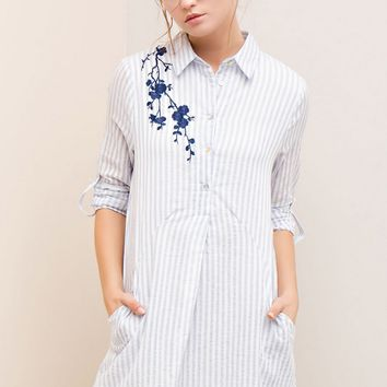 Embroidered Shoulder Button Down Shirt Dress