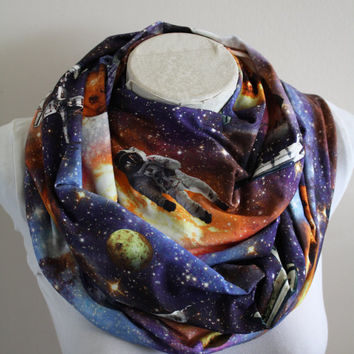Outer Space Scarf Nebula Infinity Scarf Galaxy Solar System Astronaut Christmas Gift for Women