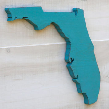 Florida or any US state shape sign wood cutout wall art. 24 Colors. Wedding Housewarming College Sports Fan Decor Gift