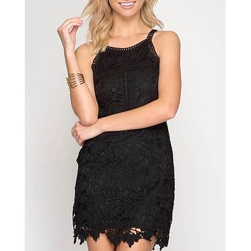 ashlyn - sleeveless lace bodycon dress - black