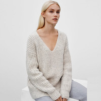 Winter Long Sleeve V-neck Pullover Sweater [6351441348]
