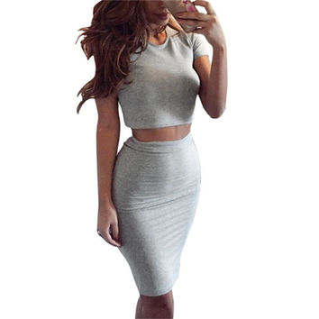 Women's Club Skirt Summer Short Sleeve Top Two Piece Outfits Midi Skirts Sexy Party Bodycon Vestidos