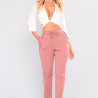 Just Being Extra Ruffle Pants - Mauve