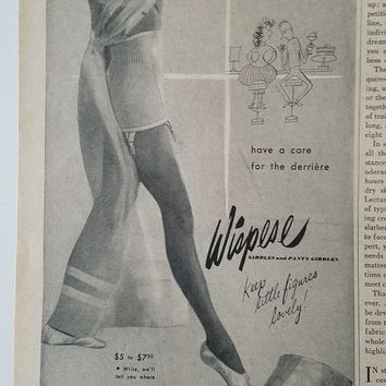 DCCK7BE 1947 women's wispies girdle garters lingerie ballet slippers fashion ad