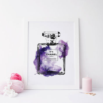 COCO CHANEL abstract art, prints, watercolor arts, prints and quotes, abstract prints, bottle perfum art, instant download