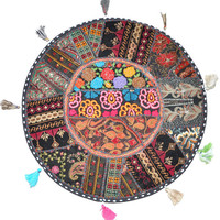 "17"" Patchwork Round Floor Pillow Cushion in Black round embroidered Bohemian Patchwork floor cushion pouf Vintage Indian Foot Stool ottoman"