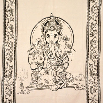 Hippie Hippy Wall Hanging Ganesha Ganesh Tapestry Indian Tapestry Throw Bedspread twin Bedcover Ethnic Decorative Art Indian Wall Hanging