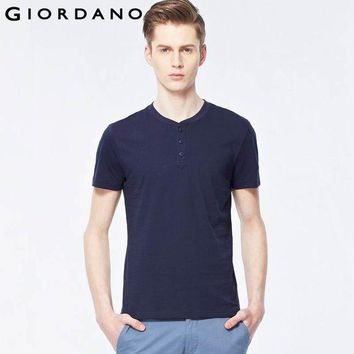 DCCKHN1 Giordano Men T-shirt Solid Henley Tee Shirt Crewneck Short Sleeves Carbon Cotton Soft Jersey Mens Tops True Slim Fit