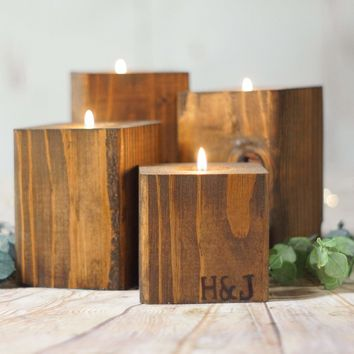 Custom Wood Candle Holder Set  5th Anniversary