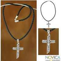 Leather cross necklace - Contemporary Cross | NOVICA