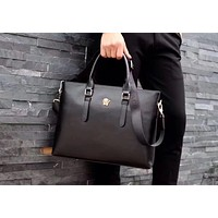 VERSACE MEN LEATHER BRIEFCASE BAG INCLINED SHOULDER BAG