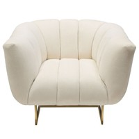 Venus Cream Fabric Chair w/ Contrasting Pillows & Gold Finished Metal Base