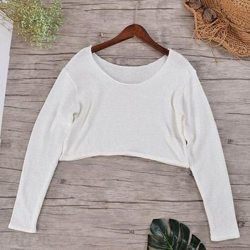 Sexy Striped Cropped Women's Sweaters