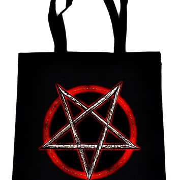 Burning Inverted Pentagram on Black Tote Book Bag Occult Heavy Metal Handbag