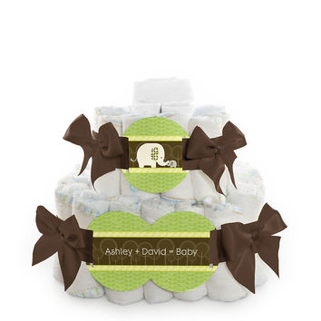 Baby Shower Square Diaper Cakes - 2 Tier - Baby Elephant