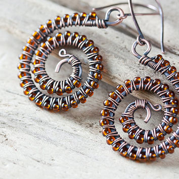 Hand Crafted Copper Wirework Spiral Earrings with Amber Glass Beads