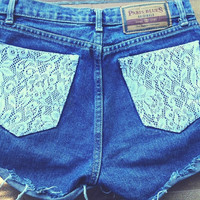 Studded Lace High Waisted Shorts