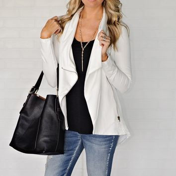 * Anchorage Solid Zip Jacket : Ivory