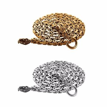 86cm/101cm Gold Silver Color Steel Self Defense Hand Bracelet Chain Dragon Head And Tail Outdoor Camping Hiking Tools