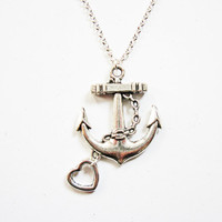 anchor necklace, silver anchor pendant necklace, anchor necklace jewelry, anchor pendant, heart charm, heart and anchor necklace, under 20