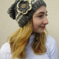 Slouchy Hat, Womens Hat, Hand Knit, Slouch Beanie, Sprinkling Colors on Gray or Yellow, Deductible Crochet Flower With Button