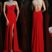 158USD Promotion!! Free shipping High Class Hand Weave shining Beading, Prom Dress, Red color, party dress for girl, evening dress, cocktail