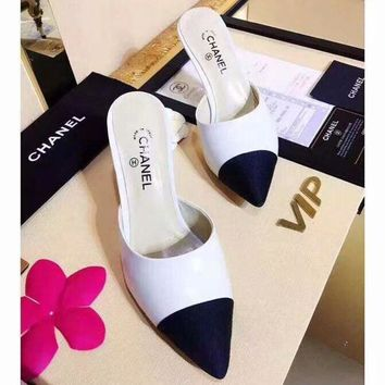 CHANEL counter models 2018 summer women's fashion trend slippers high heels F-ALS-XZ white