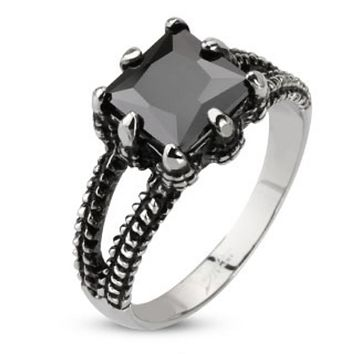 Faceted Onyx Square Gem Dragon Claw Cast Ring Stainless Steel