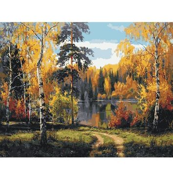 Oil Painting Picture By Numbers coloring Paint Draw DIY Hand Wall Art Canvas Home Decor Lakeside woods For room hot Gift