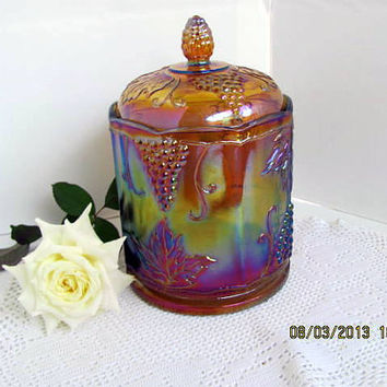 Amber Carnival Glass Biscuit Jar-Canister Grape Pattern by Indiana Glass Co