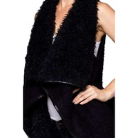 Faux Fur Vest w/Faux Trim, Black